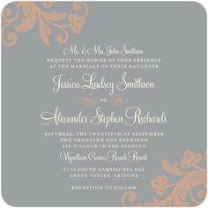 Signature White Wedding Invitations Stylized Foliage - Front : Smoke