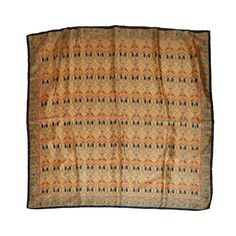 VINTAGE PICASSO CUBISM ART SIGNED BROWN BRICK GREEN SATIN 35/'/'SQUARE SCARF