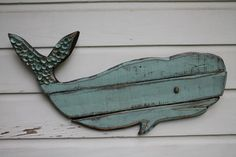 Whale Art/Wooden Whale/Beach House Wall Art by MyHoneypickles