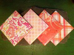 Handmade orange and floral ceramic coasters on Etsy, $10.00