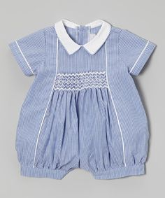 Loving this Blue Stripe Smocked Romper - Infant on #zulily! #zulilyfinds