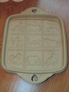 1988 Brown Bag Cookie Art Square Ceramic Shortbread Pan Mold Farm Animals