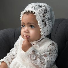 Victoria Heirloom Christening Gown - Vintage Girls lace Baptism gown – Baby Beau and Belle Lace Christening Gowns, Baptism Gown, Girl Christening, Gowns For Girls, Girls Dresses, Baptism Outfit, Baby Bonnets, Lace Silk, Antique Lace