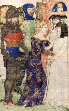BNF Français 343 - Queste del Saint Graal / Tristan de Léonois Folio: 1v, Milan, 1380 - 1385 Bibliothèque Nationale. Quest for the Holy Grail.