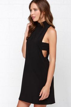 Chic Black Dress - Mock Neck Dress - Sleeveless Dress - $49.00