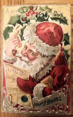 """Early 1900s vintage antique Christmas postcard """"Santa with his list"""" 