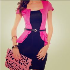 Pink and black dress Cute dress. Worn once to a company's Christmas party. Dresses