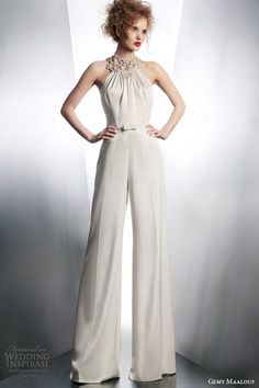 gemy maalouf wedding dreses 2015 bridal playsuit embellished neckline style 4132