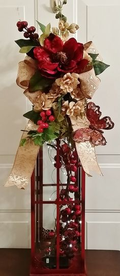 Large Magnolia and Gladiola Swag, Tall Lantern Swag, Burgundy and Taupe Swag… Christmas Lanterns, Christmas Centerpieces, Christmas Decorations, Christmas Ornaments, Holiday Decor, Tall Lanterns, Lanterns Decor, Candle Lanterns, All Things Christmas