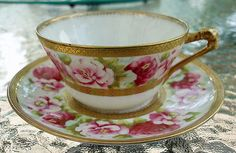 Coronet P.M. de Mavaleix Limoges, France Cup & Saucer with hand painted roses and gold.