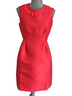 ac7ae02883e Kate Spade Mindy Dress Sleeveless Embellished Sheath Geranium Size 4 NWT   428