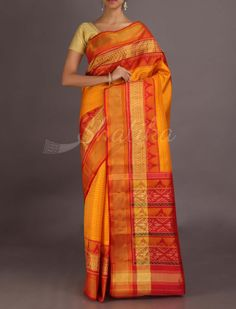 Kesar Stripes With Ornate Pallu Border #IkatPatolaSilkSaree