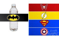 Superhero Birthday Party - Water Bottle or Soda Pop Labels (Batman, Spiderman, Flash, Superman, Captain America) / Superhero Party / Superhero Party Theme / Superhero Party Ideas / Superhero Party Favors / Superhero Birthday / Superhero Birthday Party Theme / DIY Superhero Party Ideas