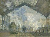 The Gare St. Lazare by Claude Monet in oil on canvas, done in Now in The Musée d'Orsay. Find a fine art print of this Claude Monet painting. Renoir, Claude Monet Pinturas, Stretched Canvas Prints, Canvas Art Prints, Monet Paintings, Impressionism Art, Oil Painting Reproductions, Jules Verne, Classical Art