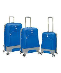 Blue Expandable Wheeled Hybrid Three-Piece Luggage Set by Travelers Club Luggage #zulily #zulilyfinds