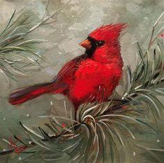"Daily Paintworks - ""Winter Cardinal "" - Original Fine Art for Sale - © Krista Eaton Bird Paintings On Canvas, Bird Painting Acrylic, Watercolor Bird, Animal Paintings, Watercolor Paintings, Canvas Art, Christmas Paintings On Canvas, Winter Painting, Bird Drawings"