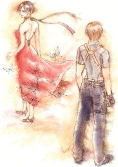 Ada and leon Resident Evil Anime, Leon S Kennedy, I Love Games, Marvel, Mystic Messenger, Best Memories, Female Characters, Ada Wong, Character Art