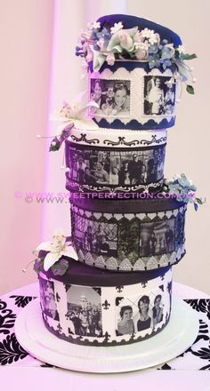 Photo Tiers.  Wedding cake with photos
