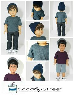"18/"" doll clothes-fits American Girl Boy  My Life-T-Shirt//Shorts-Black Batman"