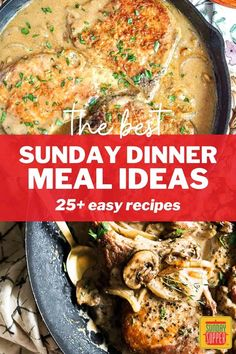 My easy Sunday Dinner Ideas are classic, simple dinner ideas, perfect for Sunday supper with the family! They make the best leftovers. Whether you're looking for quick sheet pan dinners or a meal for a special occasion, we have it here for you. Our Sunday supper ideas are easy to make and always popular! via @thesundaysupper Easy Sunday Dinner, Sunday Dinner Recipes, Supper Recipes, Dinner Ideas, Supper Ideas, Easy Family Dinners, Easy Meals, Chicken And Beef Recipe, Sunday Suppers