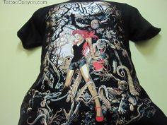 New Heavy Metal Skull Lady Biker Tattoo T Shirt  M Perlis End Time picture 17239