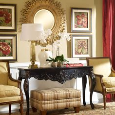 Red interiors. Red Flowers IV - Ethan Allen US. Red Floral artwork.