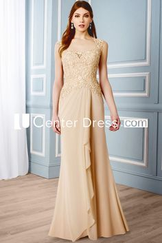$124.39-Elegant Sleeveless Queen Anne Chiffon Champagne Long Mother of the Groom Dress. http://www.ucenterdress.com/draped-sleeveless-queen-anne-chiffon-formal-dress-pMK_300147.html.  Tailor Made mother of the groom dress/ mother of the brides dress at #UcenterDress. We offer a amazing collection of 800+ Mother of the Groom dresses so you can look your best on your daughter's or son's special day. Low Prices, Free Shipping. #motherdress