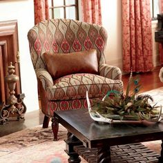 A King Ranch Exclusive This Sophisticated High Back Chair Is Upholstered In Rich Hues