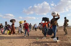 kurds ISIS HUNDREDS OF KURDISH FIGHTERS RUSH TO SYRIA TO DEFEND AREAS UNDER ISIS ATTACK; 70,000 CIVILIANS FLEE TO TURKEY 9-21-14