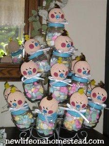 Frascos carameleros para baby shower ~ Portal de Manualidades