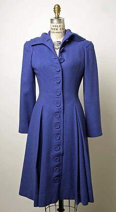 Blue wool coat, by Nettie Rosenstein, American, 1941. #vintage #1940s #fashion