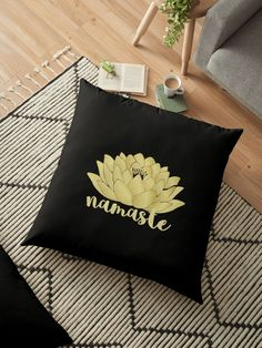 Yoga Lotus Art Namaste Floor  Pillow by Lisaliza | RedBubble.   #yoga #mandala #symbol #zen #namaste #ohm #meditation #lotus  #peace #trending #buddhism #calm #spirit #mind #fitness #vegan #hamsa  #pillow #homedecor #cushion #bedroom #sofa #floorpillow #bigpillow