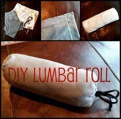 """DIY Lumbar Roll (lower back support pillow) DIY Lumbar Roll! Make a lower back support pillow with things in your """"to donate"""" pile. Back Support Pillow, Support Pillows, Back Pillow, Lumbar Pain, Lumbar Pillow, Lower Back Support, Back Pain Remedies, Back Pain Relief, Sciatica"""