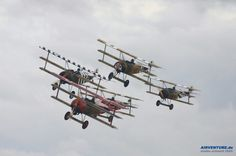 Five planes, 15 wings. That's five Fokker DR1 triplanes at once.
