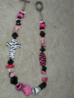 Pink Black and White Chunky Zebra Necklace by cthorses66 on Etsy, $10.00