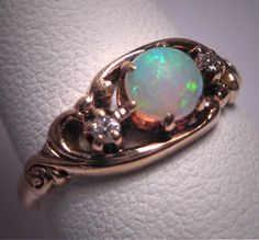 Antique Opal Diamond Ring Wedding Vintage Victorian