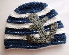 Nautical Crochet Baby Hat - Not a huge fan of the nautical baby theme but this is adorable! Crochet For Boys, Crochet Baby Hats, Learn To Crochet, Knit Crochet, Crochet Beanie, Nautical Crochet, Nautical Baby, Crochet Anchor, Crochet Crafts