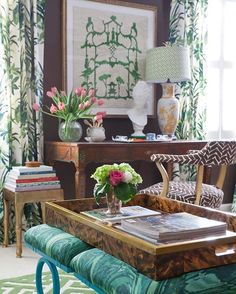 new traditional living room with lovely styling and Chinoiserie accents