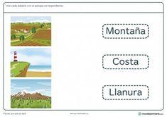Ficha de unir paisajes para primaria