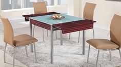 "Global D3232DT Dining Table - Wooden dining table with glass top. Dimensions: L32(52)"" x D32"" x H30""."