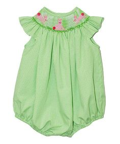 Look at this #zulilyfind! Green Gingham Bunny Bubble Bodysuit - Infant by Vive La Fête #zulilyfinds