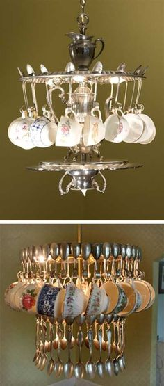 Chandelier from vintage tea cups, spoons, silverware, repurposed teacups; Diy Luminaire, Diy Lampe, Vintage Tea, Vintage Lamps, Recycled Lamp, Repurposed, Luminaire Original, Diy Décoration, Wind Chimes