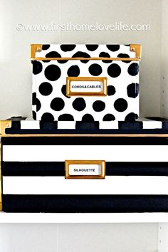 In Love !! DIY-Kate Spade inspired storage boxes ! via First Home Love Life.