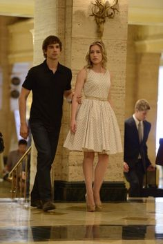 Couple. Love. Annie Walker + Auggie Anderson. Piper Perabo and Christopher Gorham on Covert Affairs. White dresses. Sweet. Couple. Couples. Love.