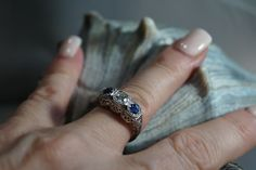 3 stone Diamond and Sapphire Ring antique by GreenhillFarmsMarket