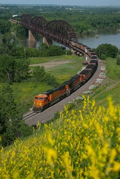 a train bridge across the Missouri in North Dakota