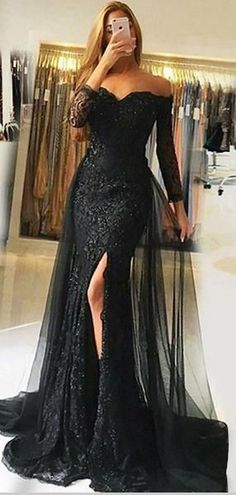Sweetheart Full Sleeves Tulle Lace Prom Dress Custom Made Mermaid Black Long Evening Gowns Fashion Side Slit School Dance Dresses - Prom Dresses Design Off Shoulder Evening Gown, Lace Evening Gowns, Black Evening Dresses, Black Prom Dresses, Cheap Prom Dresses, Dress Prom, Dance Dresses, Lace Prom Gown, Evening Gowns With Sleeves