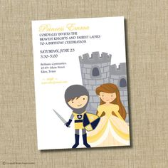 Princess and Knight birthday invitation. by brownpaperstudios, $15.00