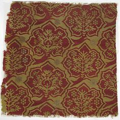 Fragment with a Simulated Silk Textile Pattern  Date: ca. 1450–1550 Geography: Made in, Nuremberg/Strasbourg Culture: Upper Rhenish Medium: Linen warp, wool wefts