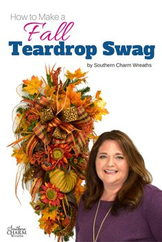 "Stop Googling and searching YouTube for a good teardrop swag tutorial.  In this downloadable, ""How to Make a Fall Teardrop Swag"" by Southern Charm Wreaths you get detailed instructions for creating a fall teardrop swag with that designer look.  Easy enough for beginners too!"